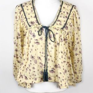 Free People Daisy Print Blouse Cotton Yellow S